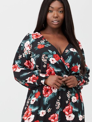 V By Very Curve Shirred Waist Wrap Dress - Print