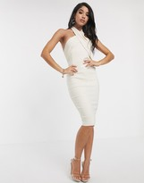 Vesper halterneck midi dress in stone