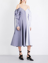 J.W.Anderson Patchwork cold shoulder cotton-chambray midi dress