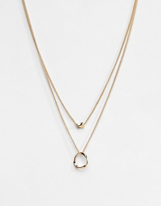 ASOS DESIGN Twisted Nugget Bead And Hoop Multirow Necklace