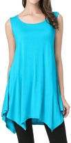 JollieLovin Womens Plus Size Loose-fit Sleeveless T-shirt Tank Tunic Top(M, Lake Blue)