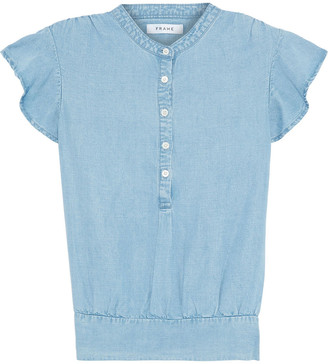 Frame Ruffle-trimmed Tencel And Linen-blend Chambray Top