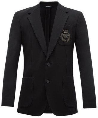 Dolce & Gabbana Logo-embroidered Cotton-blend Blazer - Black