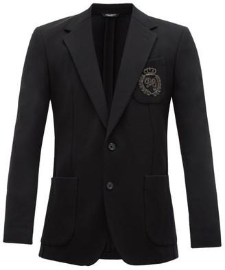 Dolce & Gabbana Logo-embroidered Cotton-blend Blazer - Mens - Black