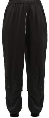 Katharine Hamnett Zipped Silk-satin Track Pants - Womens - Black