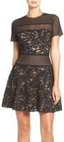 BCBGMAXAZRIA Women's Lace Knit Fit & Flare Dress