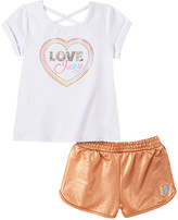 Juicy Couture Girls' Casual Shorts 2008 - White Crisscross-Back Heart Logo Scoop Neck Tee & Copper Shorts - Infant, Toddler & Girls