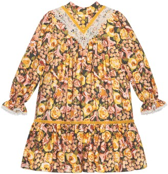 Gucci Children's roses and rabbit viscose dress