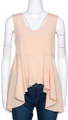 Chloé Peach Silk Crepe Sleeveless Dip Hem Top S