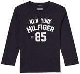 Tommy Hilfiger Navy Branded Long Sleeve Tee