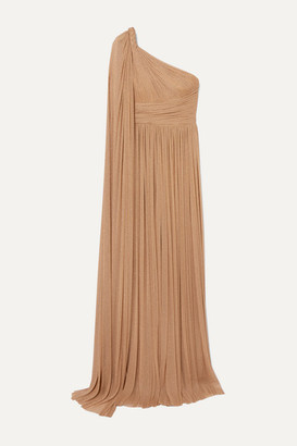 Elie Saab One-sleeve Draped Metallic Tulle Gown - Beige
