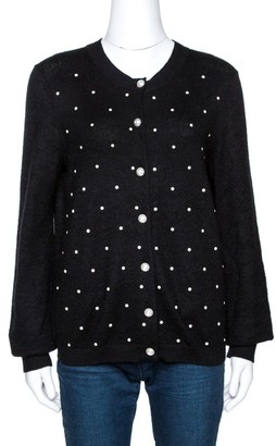 Chanel Black Stud Embellished Mohair Button Front Cardigan L