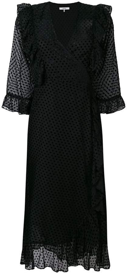 Ganni polka dot ruffled wrap dress