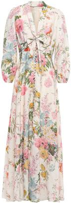 Zimmermann Tie-neck Floral-print Linen Maxi Dress