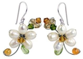 Novica Pearl and Peridot Flower Earrings, 'Frangipani Glam'