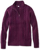 L.L. Bean Double L Mixed-Cable Sweater, Zip-Front Cardigan
