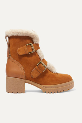 See by Chloe Shearling-trimmed Suede And Leather Ankle Boots - Tan