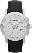 Burberry 42mm Chronograph Watch w/ Matte Leather Strap, Silver/Black