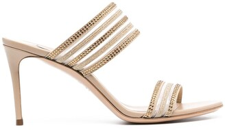 Casadei Crystal-Embellished Mule Sandals