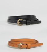 Asos 2 Pack Super Skinny Vintage Look Waist and Hip Belt