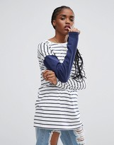 Asos T-Shirt With Long Sleeves In Blocked Stripe