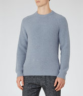 Reiss Reiss Jamie - Ribbed Crew-neck Jumper In Blue