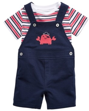 First Impressions Baby Boys 2-Pc. Striped T-Shirt & Crab Shortalls Set, Created for Macy's