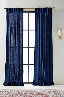 Anthropologie Chenille Curtains, Set of 2 By in Blue Size 50X84