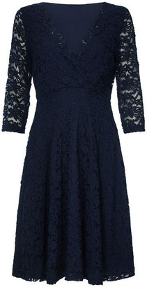 Yumi Floral Lace Knee Length Skater Dress