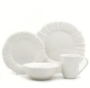 Chloé Euro Ceramica 16 Piece White Dinnerware Set