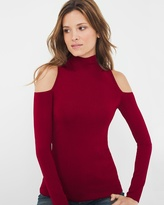 White House Black Market Mock Neck Cold-Shoulder Sweater