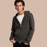 Burberry Hooded Cotton Jersey Top , Size: Xs, Grey