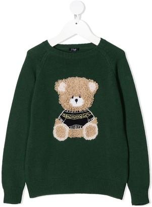 Il Gufo Bear-Embroidered Knit Jumper