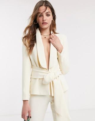 NA-KD NA-Kdco-ord tie-waist blazer with wite belt in cream