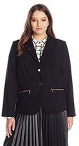 Calvin Klein Women's Plus-Size Two-Button Jacket with Pocket Zips