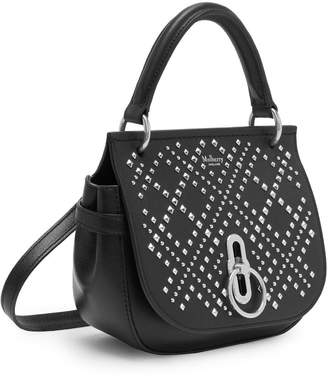 Mulberry Small Amberley Satchel Black Mix Studs on Silky Calf
