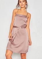 Missy Empire Sara Mink Satin D-Belt Slip Dress
