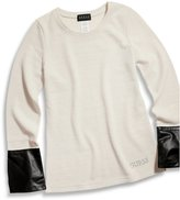 GUESS Big Girl Space-Dyed Sweater with Faux-Leather Cuffs