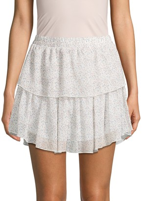 Supply & Demand Floral-Print Tiered Mini Skirt