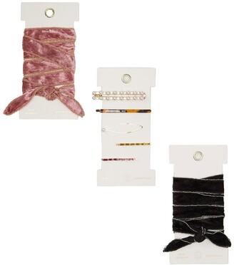 Knotty Velvet Convertible Wrap Headband 2-Pack & Fancy Barrette 5-Pack