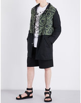 Versace Curlicue-print cotton hooded coat