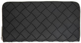 Bottega Veneta Black Rubber Intrecciato Zip Around Wallet