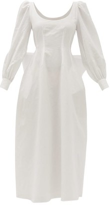 Brock Collection Exaggerated-bow Slubbed Cotton-blend Dress - White