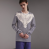 Burberry Unisex Lace Appliqué Breton Stripe Cotton Top