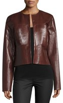 Joseph Nim Collarless Coated Leather Jacket, Mahogany