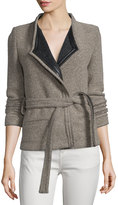 IRO Awa Belted Tweed Jacket, Beige/Black