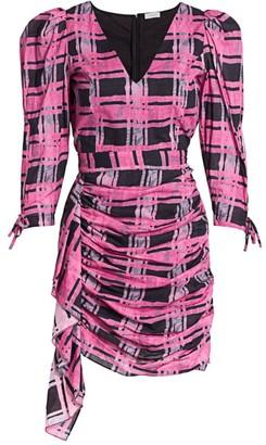 Rhode Resort Piper Plaid Puff Shoulder Mini Dress
