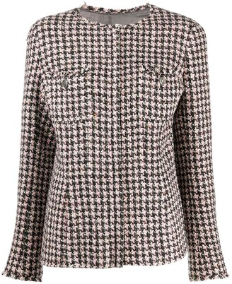 Chanel Pre Owned 2008 Single-Breasted Tweed Houndstooth Jacket