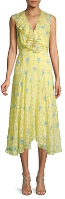 Saloni Silk Blend Ruffled Floral Midi Dress
