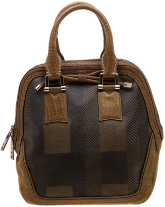 Burberry Brown Coated Canvas/Nubuck and Leather Satchel